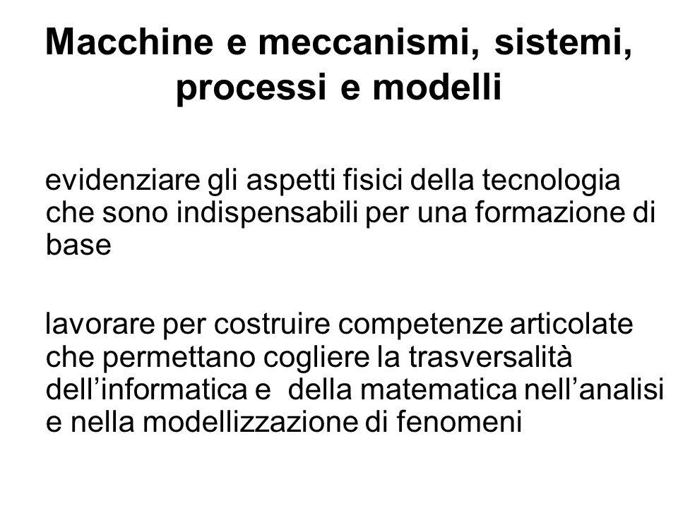 Macchine e meccanismi, sistemi, processi e modelli evidenziare gli aspetti fisici della tecnologia che sono indispensabili per una formazione di base