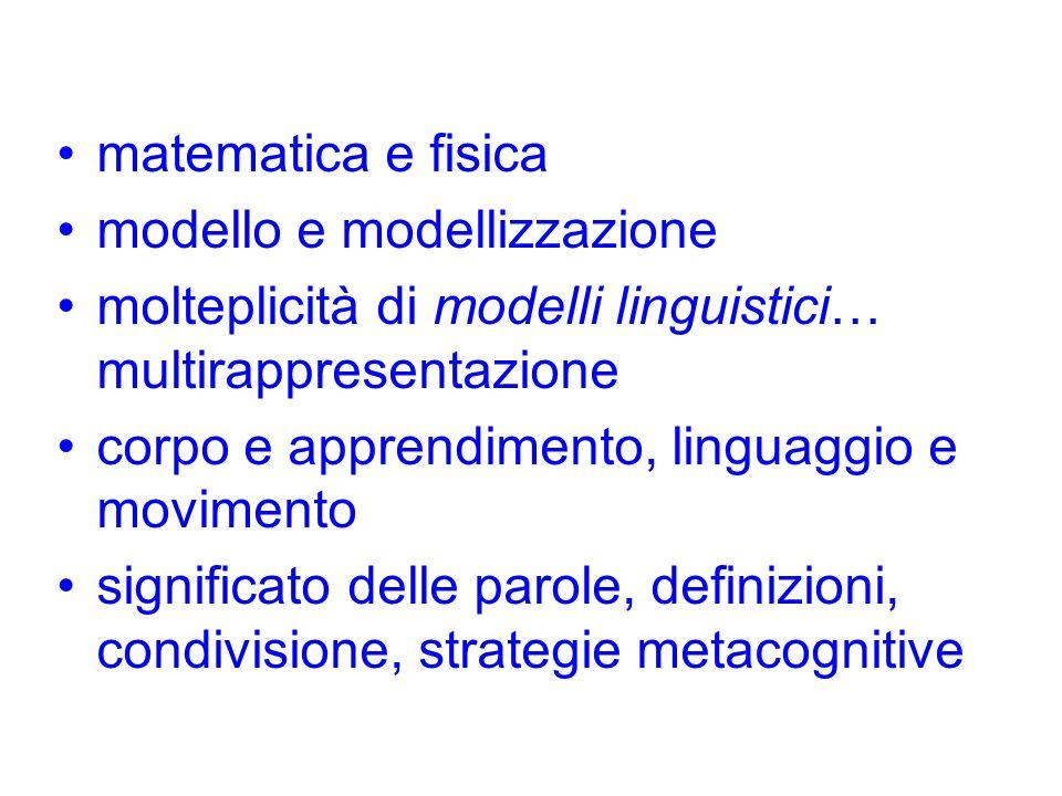 matematica e fisica modello e modellizzazione molteplicità di modelli linguistici… multirappresentazione corpo e apprendimento, linguaggio e movimento