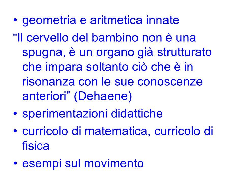 geometria e aritmetica innate Il cervello del bambino non è una spugna, è un organo già strutturato che impara soltanto ciò che è in risonanza con le