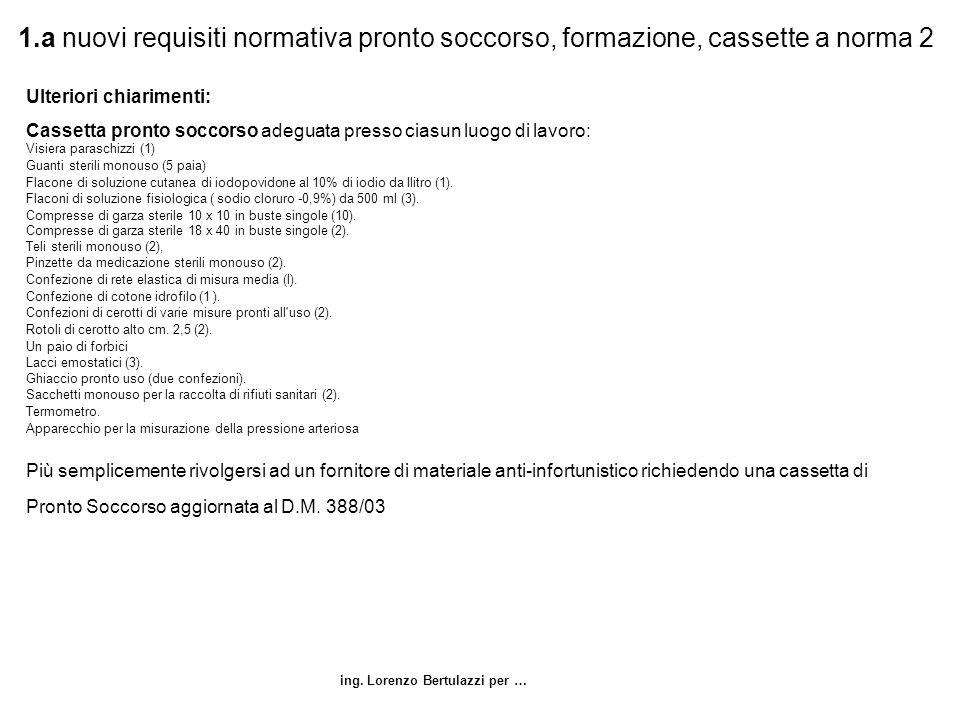 ing. Lorenzo Bertulazzi per … 1.a nuovi requisiti normativa pronto soccorso, formazione, cassette a norma 2 Ulteriori chiarimenti: Cassetta pronto soc