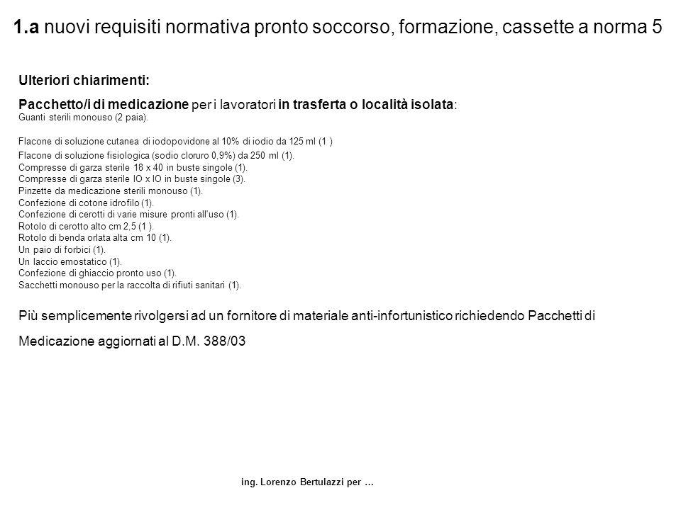 ing. Lorenzo Bertulazzi per … 1.a nuovi requisiti normativa pronto soccorso, formazione, cassette a norma 5 Ulteriori chiarimenti: Pacchetto/i di medi