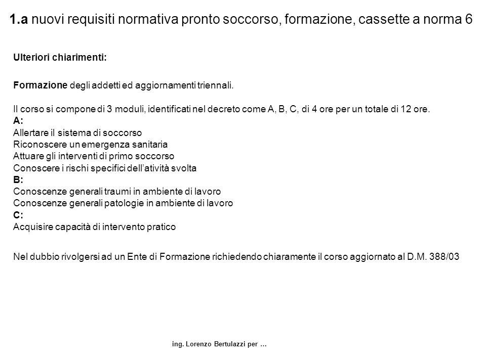 ing. Lorenzo Bertulazzi per … 1.a nuovi requisiti normativa pronto soccorso, formazione, cassette a norma 6 Ulteriori chiarimenti: Formazione degli ad