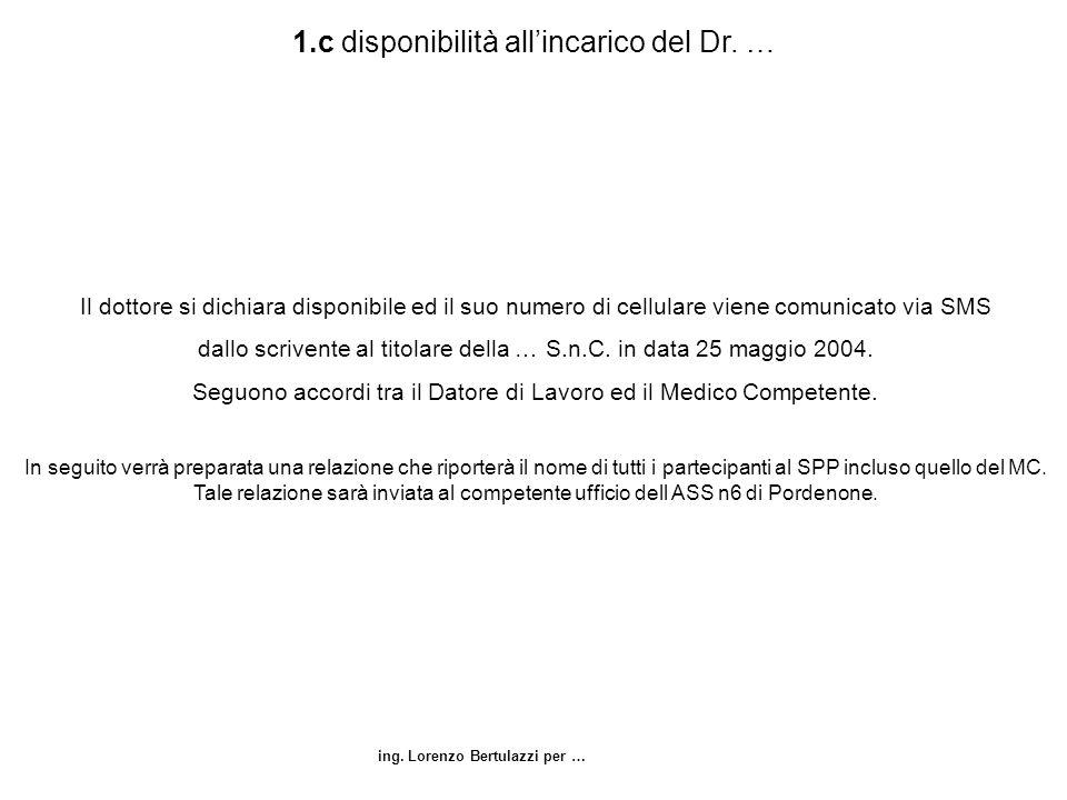 ing. Lorenzo Bertulazzi per … 1.c disponibilità allincarico del Dr. … Il dottore si dichiara disponibile ed il suo numero di cellulare viene comunicat