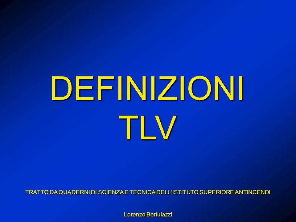 DEFINIZIONI TLV TRATTO DA QUADERNI DI SCIENZA E TECNICA DELLISTITUTO SUPERIORE ANTINCENDI Lorenzo Bertulazzi