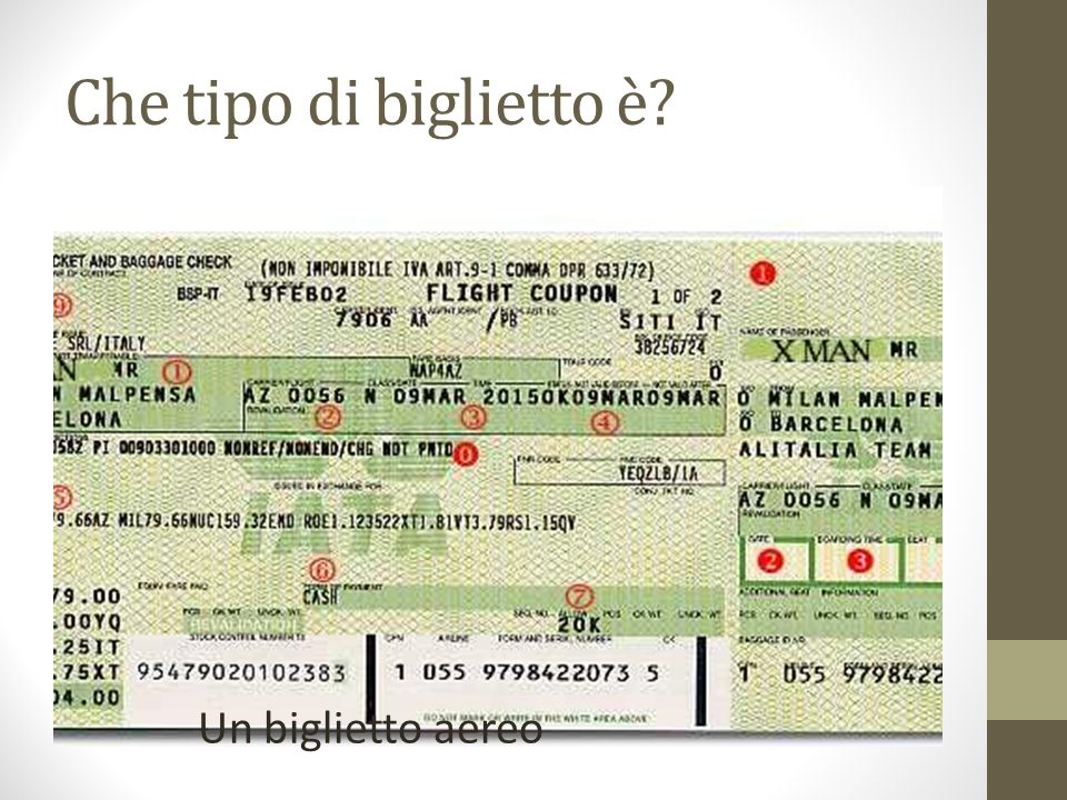 Che tipo di biglietto è? Un biglietto aereo