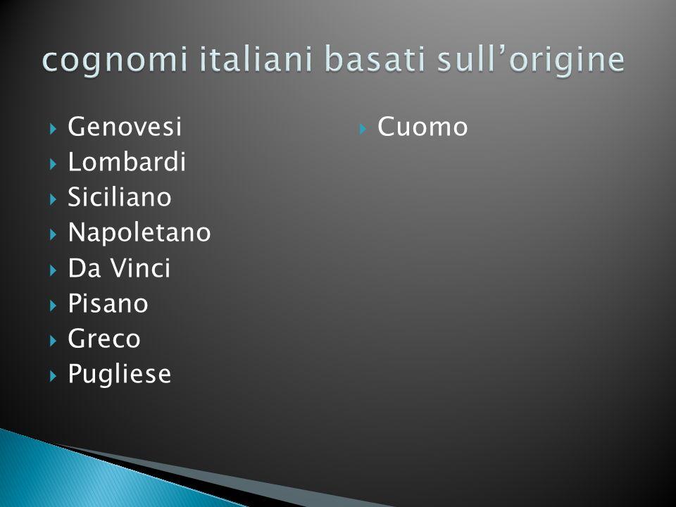 Genovesi Lombardi Siciliano Napoletano Da Vinci Pisano Greco Pugliese Cuomo