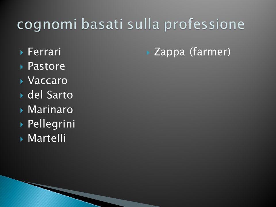 Ferrari Pastore Vaccaro del Sarto Marinaro Pellegrini Martelli Zappa (farmer)