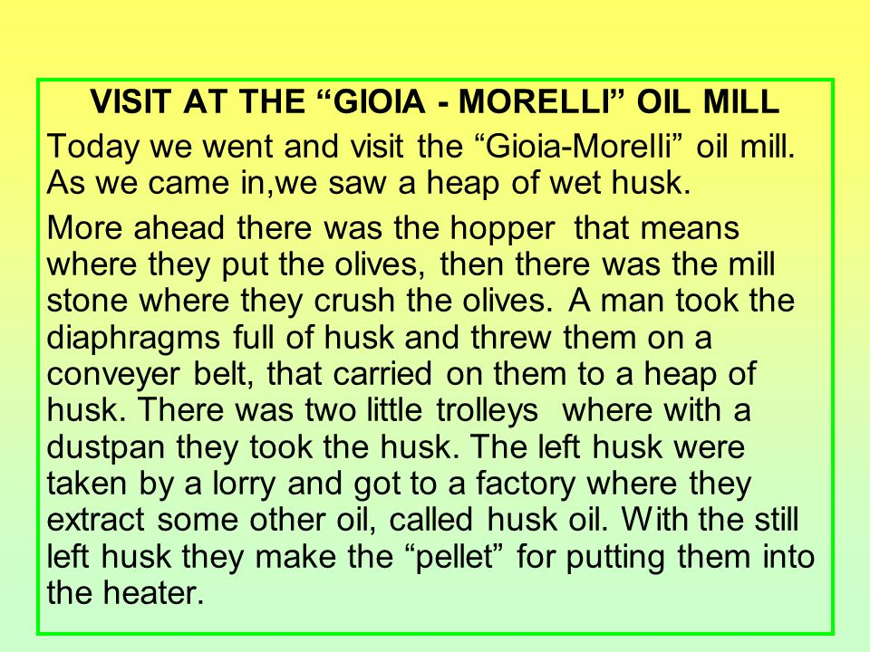 VISIT AT THE GIOIA - MORELLI OIL MILL Today we went and visit the Gioia-Morelli oil mill.