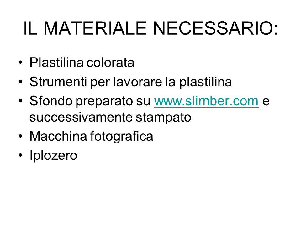 IL MATERIALE NECESSARIO: Plastilina colorata Strumenti per lavorare la plastilina Sfondo preparato su www.slimber.com e successivamente stampatowww.sl