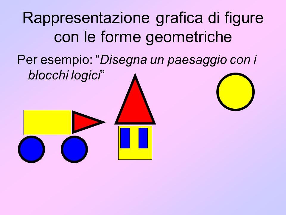 Rappresentazione grafica di figure con le forme geometriche Per esempio: Disegna un paesaggio con i blocchi logici