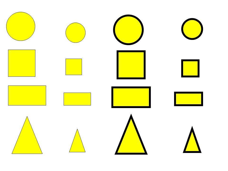 Discriminazione delle forme geometriche Per esempio: Incolla le forme geometriche nel giusto insieme