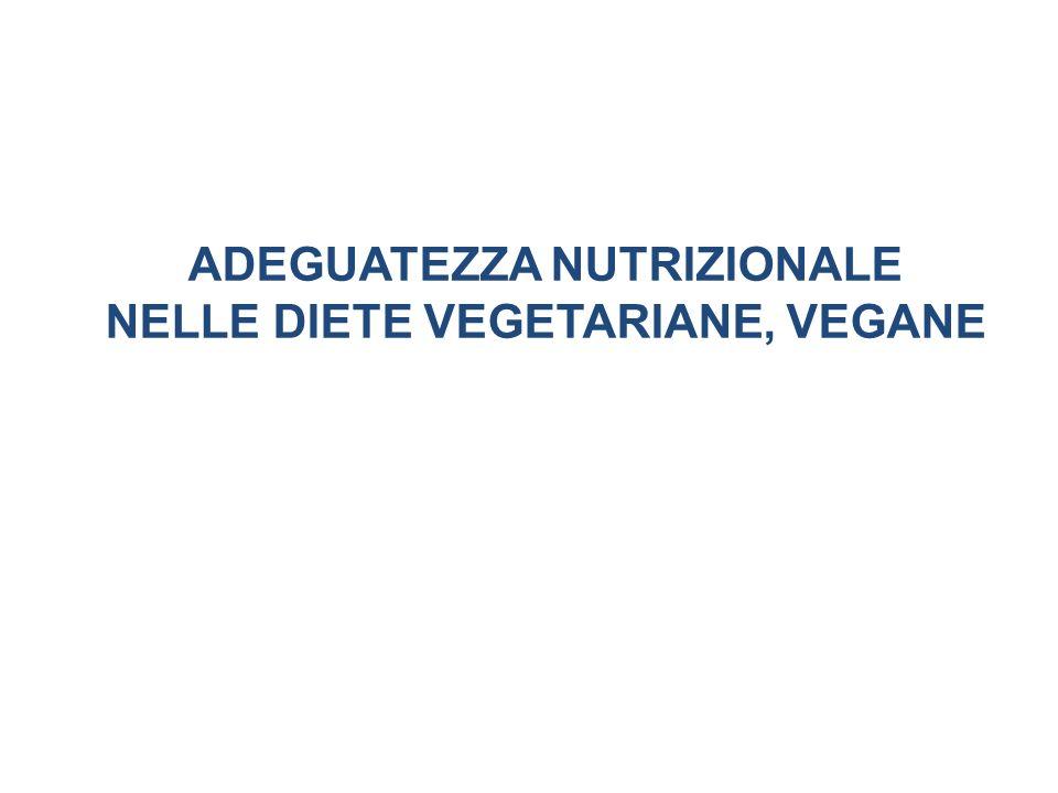 ADEGUATEZZA NUTRIZIONALE NELLE DIETE VEGETARIANE, VEGANE