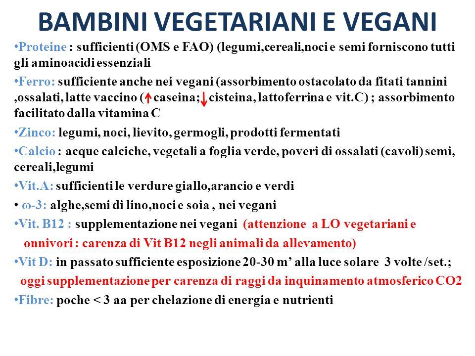 BAMBINI VEGETARIANI E VEGANI Proteine : sufficienti (OMS e FAO) (legumi,cereali,noci e semi forniscono tutti gli aminoacidi essenziali Ferro: sufficie