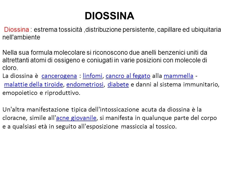 Diossina : estrema tossicità,distribuzione persistente, capillare ed ubiquitaria nell'ambiente Nella sua formula molecolare si riconoscono due anelli