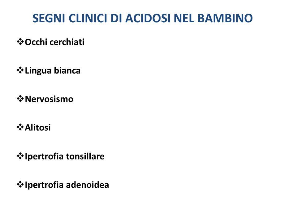 SEGNI CLINICI DI ACIDOSI NEL BAMBINO Occhi cerchiati Lingua bianca Nervosismo Alitosi Ipertrofia tonsillare Ipertrofia adenoidea
