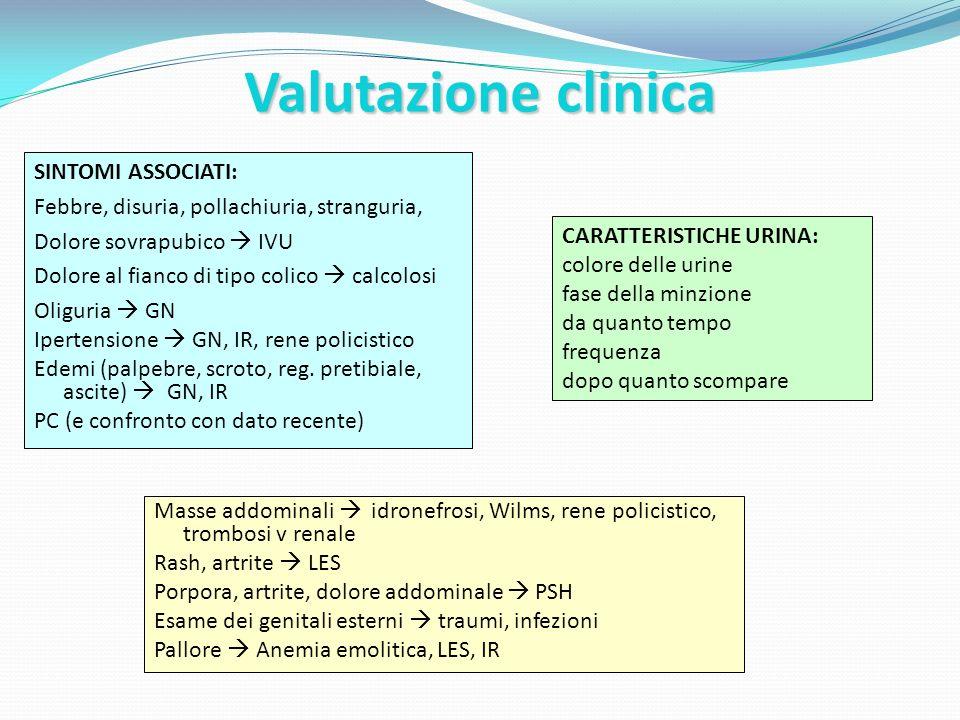 Valutazione clinica SINTOMI ASSOCIATI: Febbre, disuria, pollachiuria, stranguria, Dolore sovrapubico IVU Dolore al fianco di tipo colico calcolosi Oli