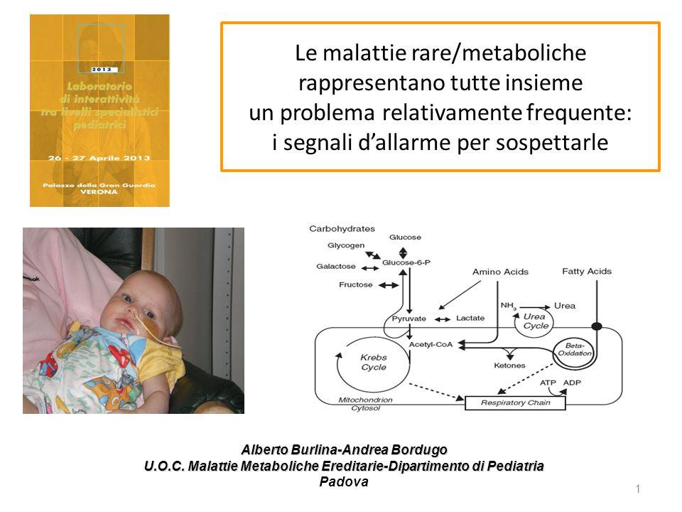 Alberto Burlina-Andrea Bordugo U.O.C. Malattie Metaboliche Ereditarie-Dipartimento di Pediatria Padova 1 Le malattie rare/metaboliche rappresentano tu