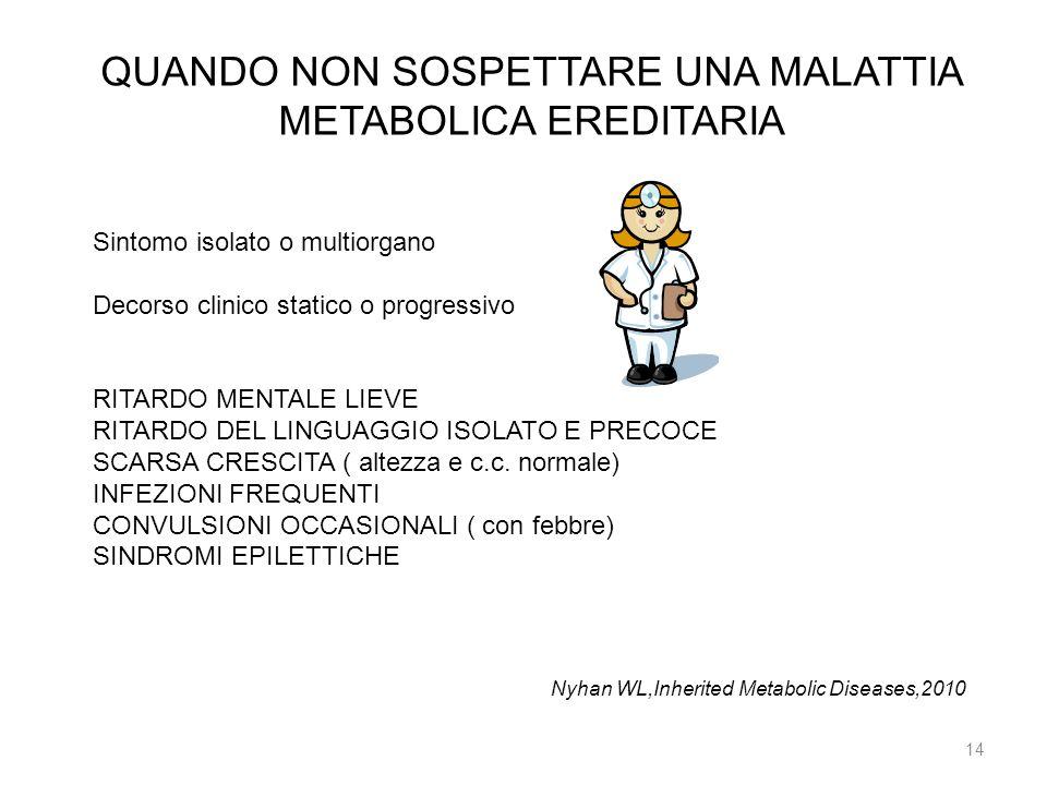 14 QUANDO NON SOSPETTARE UNA MALATTIA METABOLICA EREDITARIA Sintomo isolato o multiorgano Decorso clinico statico o progressivo RITARDO MENTALE LIEVE