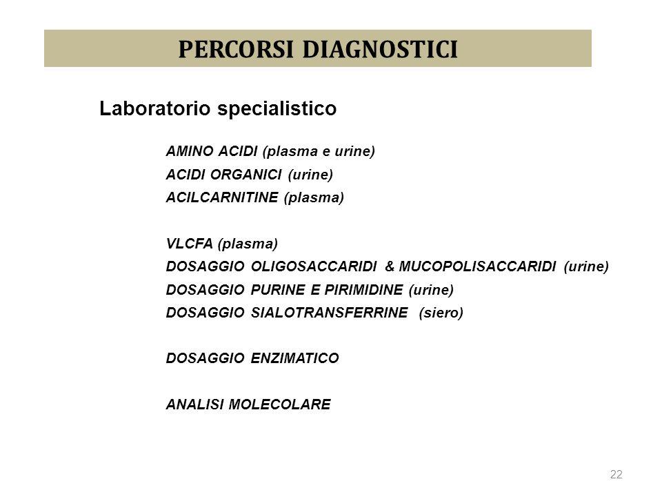 Laboratorio specialistico AMINO ACIDI (plasma e urine) ACIDI ORGANICI (urine) ACILCARNITINE (plasma) VLCFA (plasma) DOSAGGIO OLIGOSACCARIDI & MUCOPOLI