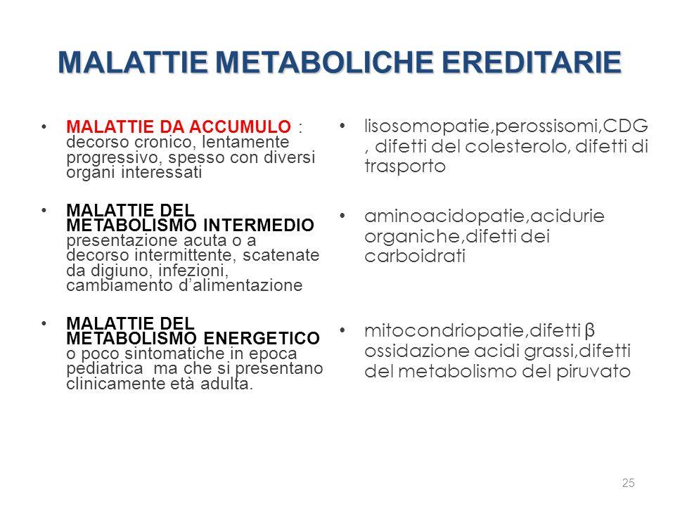 MALATTIE DA ACCUMULO : decorso cronico, lentamente progressivo, spesso con diversi organi interessati MALATTIE DEL METABOLISMO INTERMEDIO presentazion