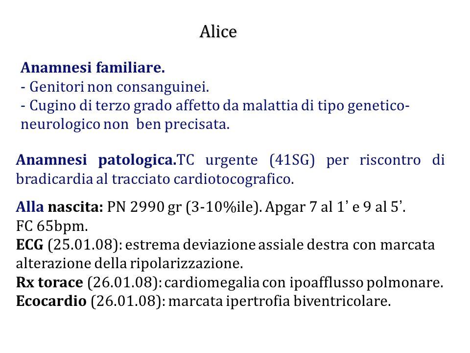 Alice Anamnesi familiare. - Genitori non consanguinei. - Cugino di terzo grado affetto da malattia di tipo genetico- neurologico non ben precisata. An