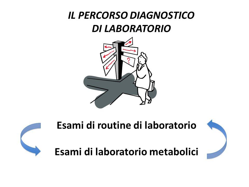IL PERCORSO DIAGNOSTICO DI LABORATORIO Esami di routine di laboratorio Esami di laboratorio metabolici