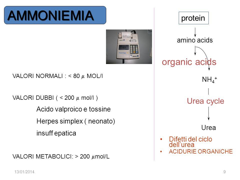organic acids NH 4 + Urea Urea cycle protein amino acids Difetti del ciclo dellurea ACIDURIE ORGANICHE 13/01/20149 VALORI NORMALI : < 80 MOL/l VALORI