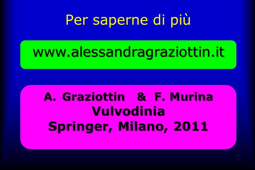Per saperne di piùwww.alessandragraziottin.it A.Graziottin & F. Murina Vulvodinia Springer, Milano, 2011