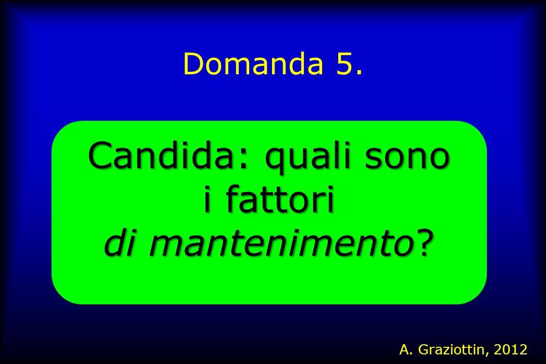 Domanda 5. Candida: quali sono i fattori di mantenimento? A. Graziottin, 2012