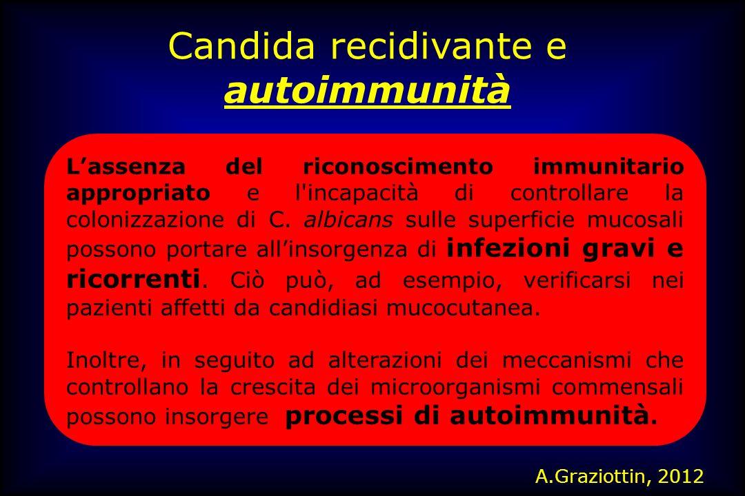 Candida recidivante e autoimmunità Lassenza del riconoscimento immunitario appropriato e l'incapacità di controllare la colonizzazione di C. albicans