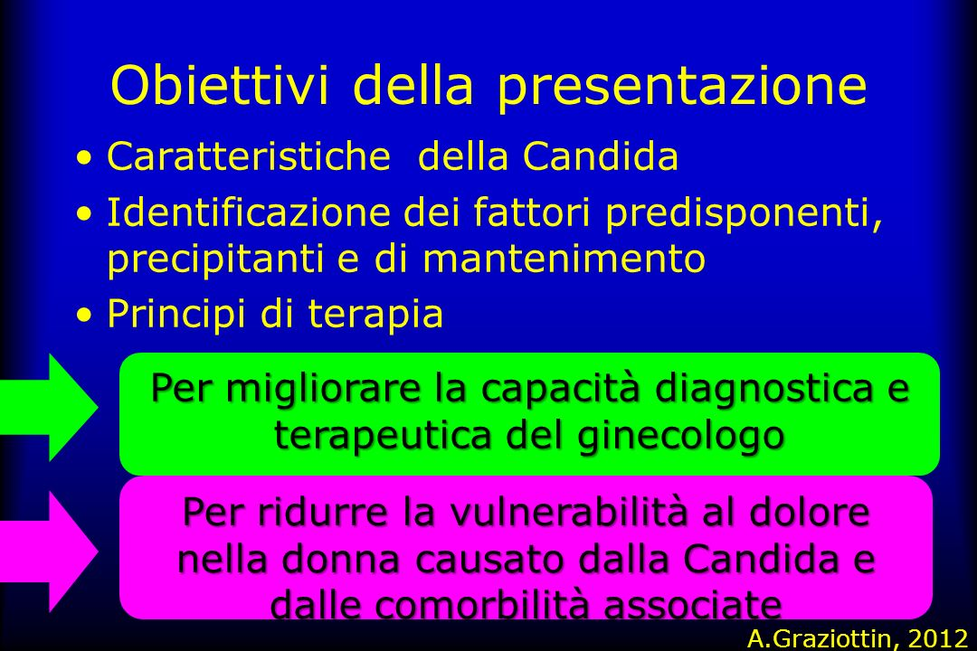 Obiettivi della presentazione Caratteristiche della Candida Identificazione dei fattori predisponenti, precipitanti e di mantenimento Principi di tera