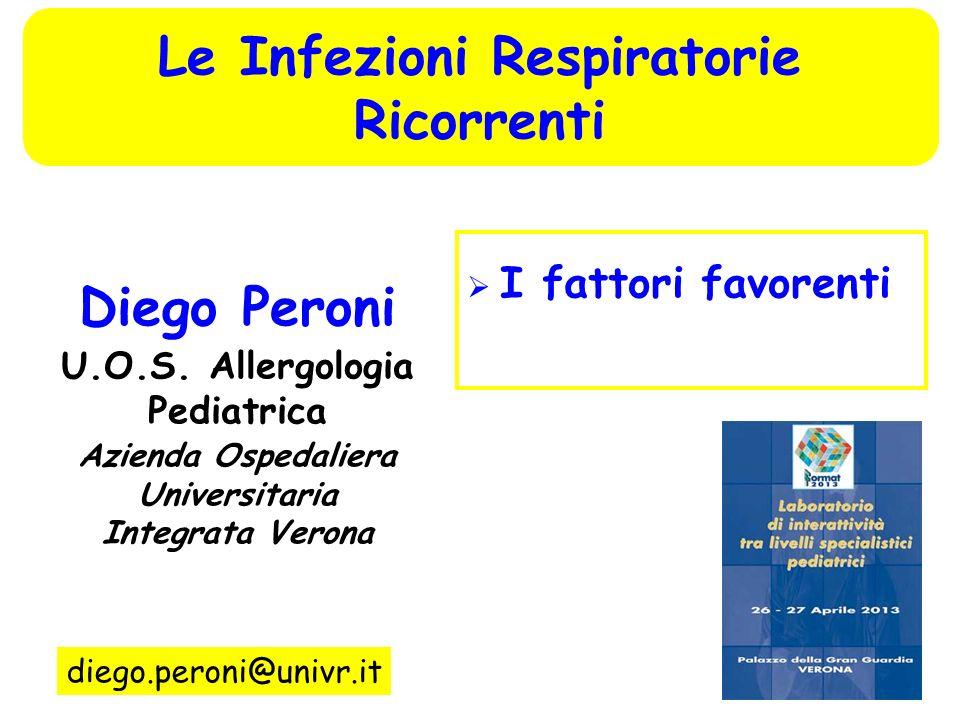I fattori favorenti Diego Peroni U.O.S. Allergologia Pediatrica Azienda Ospedaliera Universitaria Integrata Verona diego.peroni@univr.it Le Infezioni