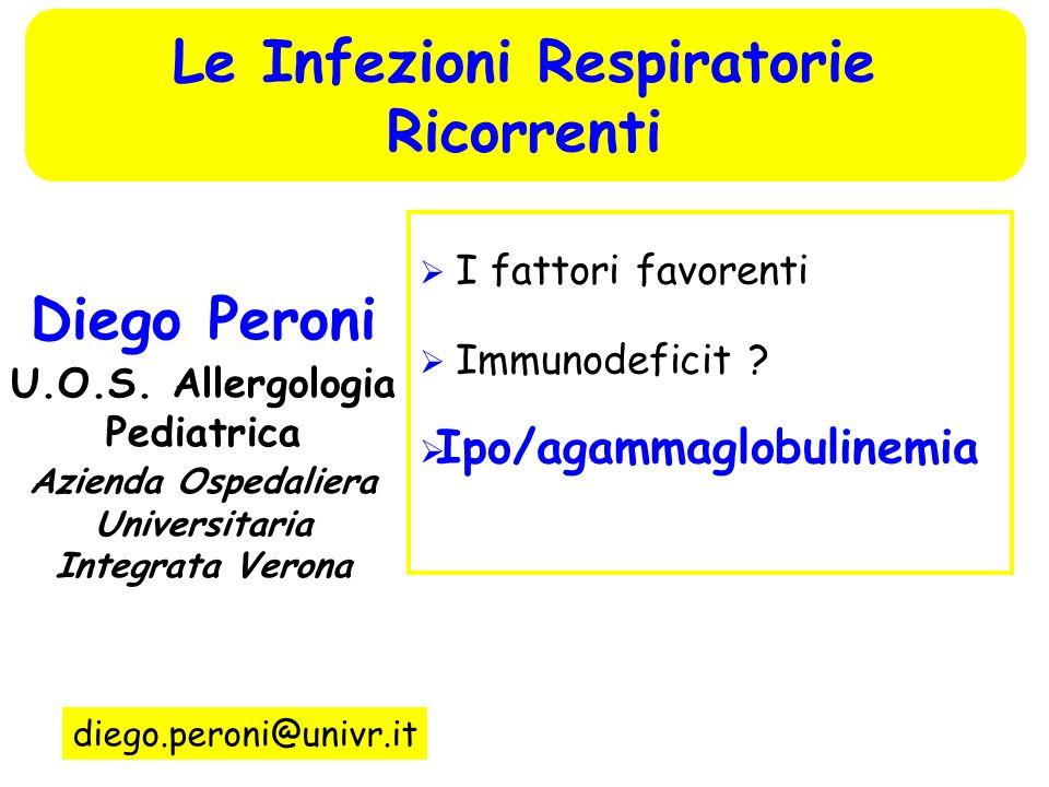 I fattori favorenti Immunodeficit ? Ipo/agammaglobulinemia Diego Peroni U.O.S. Allergologia Pediatrica Azienda Ospedaliera Universitaria Integrata Ver