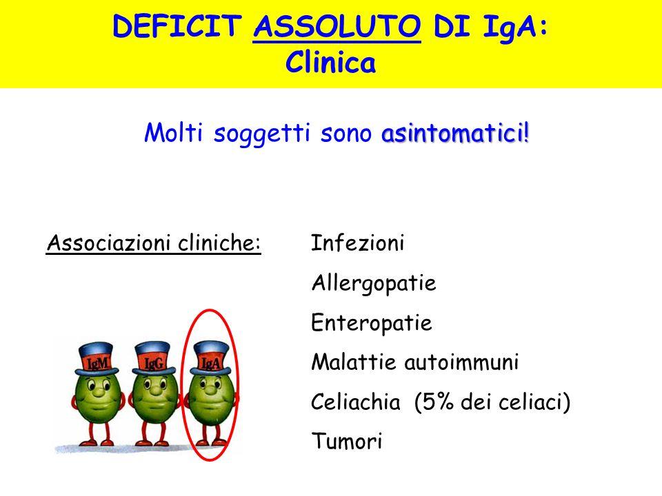 asintomatici! Molti soggetti sono asintomatici! Associazioni cliniche: Infezioni Allergopatie Enteropatie Malattie autoimmuni Celiachia (5% dei celiac