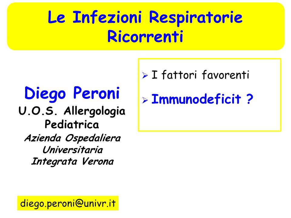 I fattori favorenti Immunodeficit ? Diego Peroni U.O.S. Allergologia Pediatrica Azienda Ospedaliera Universitaria Integrata Verona diego.peroni@univr.