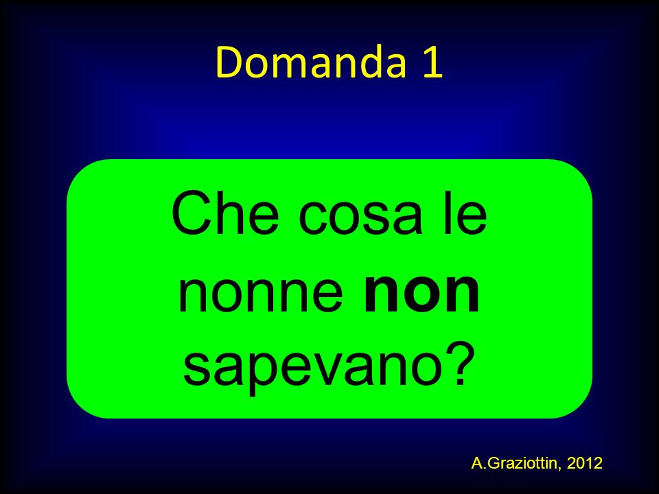 M.SUTTI Domanda 1 Che cosa le nonne non sapevano? A.Graziottin, 2012