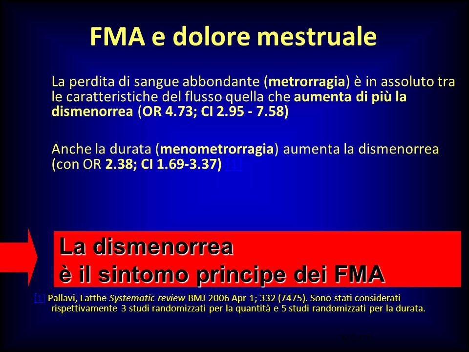 M.SUTTI FMA e dolore mestruale La perdita di sangue abbondante (metrorragia) è in assoluto tra le caratteristiche del flusso quella che aumenta di più