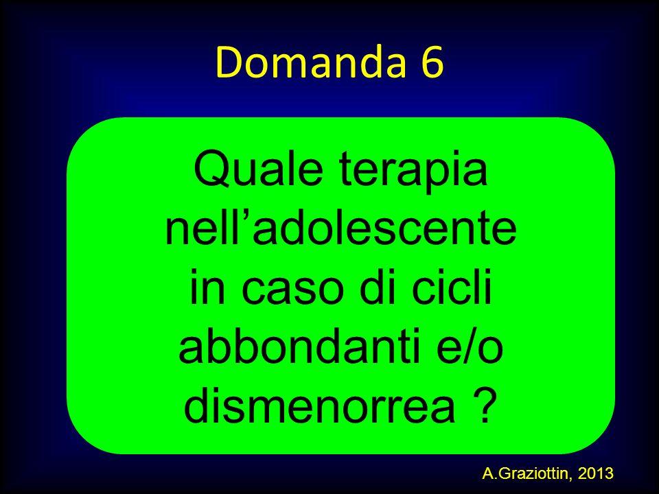 M.SUTTI Domanda 6 Quale terapia nelladolescente in caso di cicli abbondanti e/o dismenorrea ? A.Graziottin, 2013