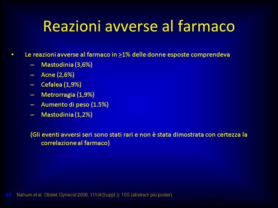 M.SUTTI 66 Reazioni avverse al farmaco Le reazioni avverse al farmaco in >1% delle donne esposte comprendeva – Mastodinia (3,6%) – Acne (2,6%) – Cefal
