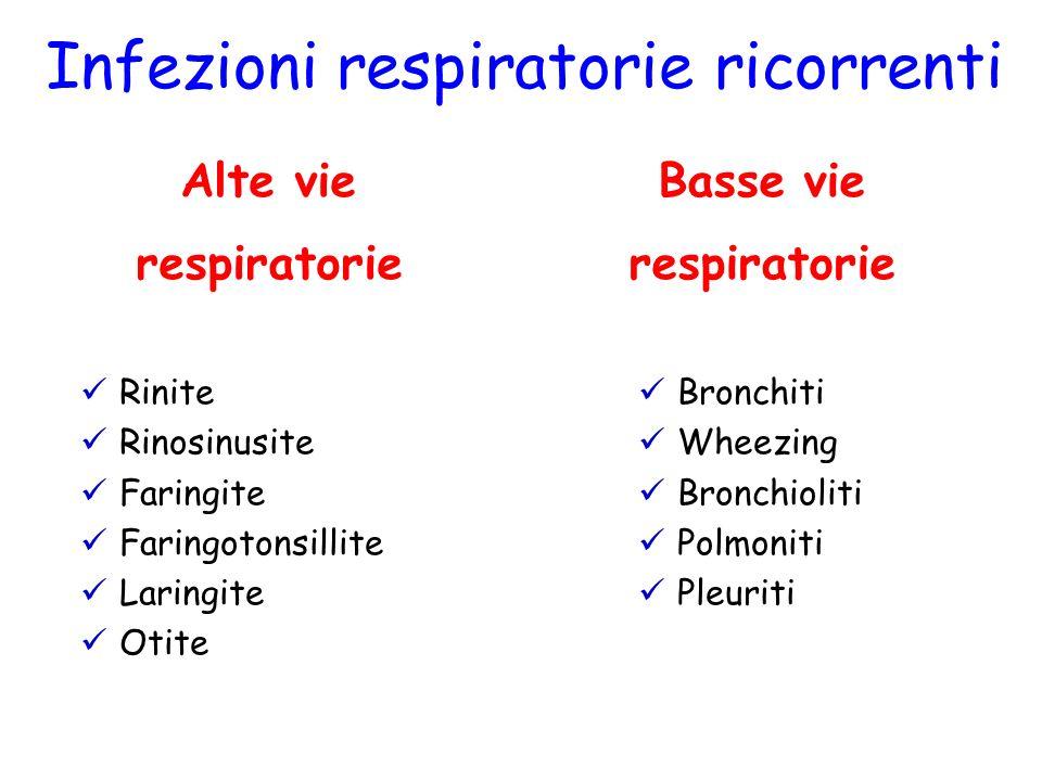 Basse vie respiratorie Infezioni respiratorie ricorrenti Alte vie respiratorie Rinite Rinosinusite Faringite Faringotonsillite Laringite Otite Bronchi