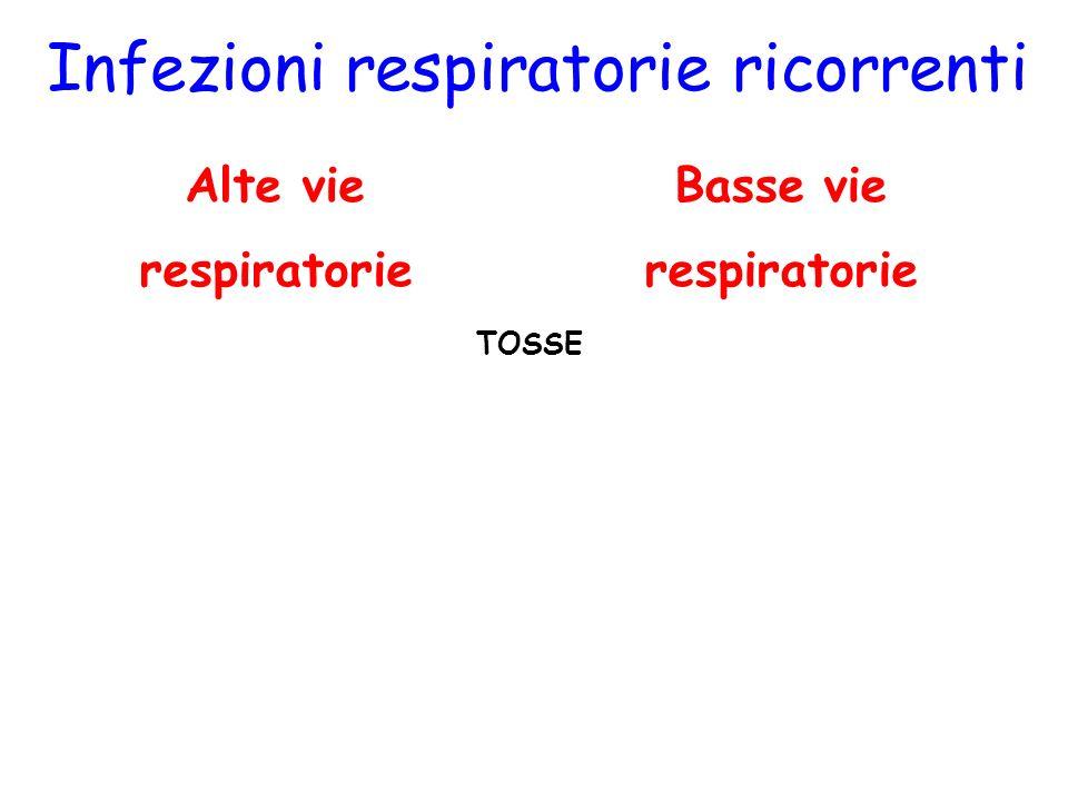 Basse vie respiratorie Infezioni respiratorie ricorrenti Alte vie respiratorie TOSSE