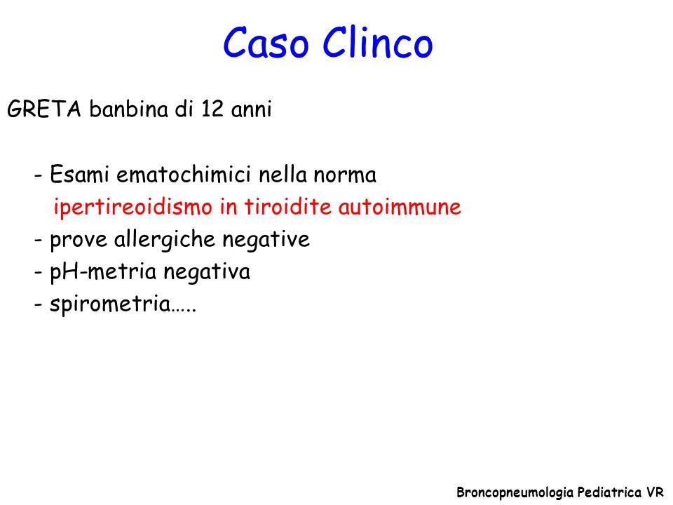 Caso Clinco Broncopneumologia Pediatrica VR GRETA banbina di 12 anni - Esami ematochimici nella norma ipertireoidismo in tiroidite autoimmune - prove