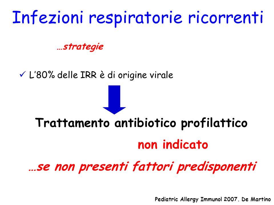 Infezioni respiratorie ricorrenti Terapia …strategie L80% delle IRR è di origine virale Trattamento antibiotico profilattico non indicato …se non pres