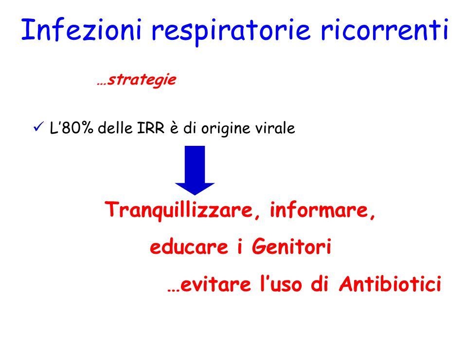 Infezioni respiratorie ricorrenti Terapia …strategie L80% delle IRR è di origine virale Tranquillizzare, informare, educare i Genitori …evitare luso d