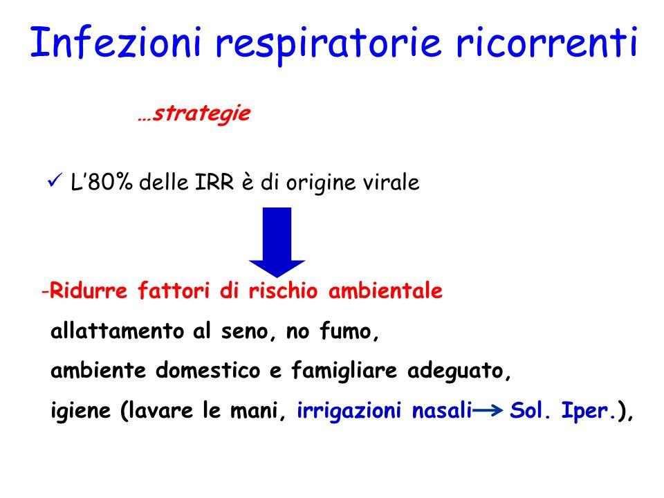 Infezioni respiratorie ricorrenti Terapia …strategie L80% delle IRR è di origine virale -Ridurre fattori di rischio ambientale allattamento al seno, n