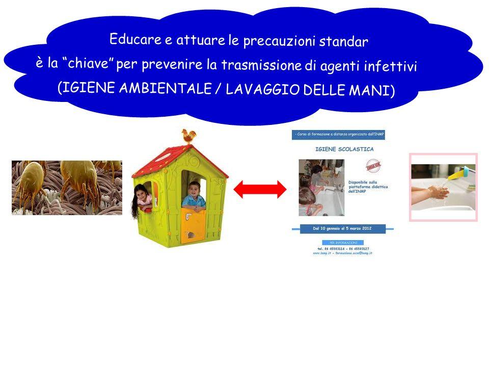 Educare e attuare le precauzioni standar è la chiave per prevenire la trasmissione di agenti infettivi (IGIENE AMBIENTALE / LAVAGGIO DELLE MANI)