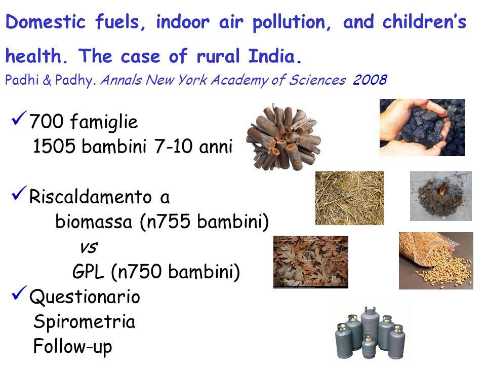 700 famiglie 1505 bambini 7-10 anni Riscaldamento a biomassa (n755 bambini) vs GPL (n750 bambini) Questionario Spirometria Follow-up Domestic fuels, i