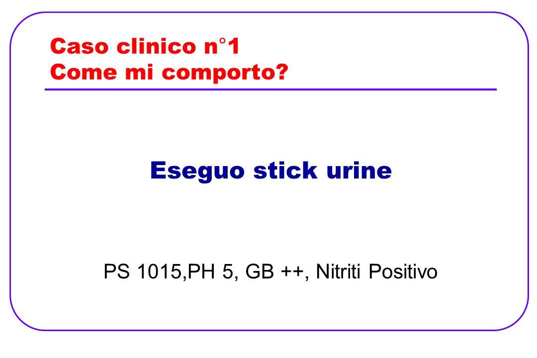 Caso clinico n°1 Come mi comporto? Eseguo stick urine PS 1015,PH 5, GB ++, Nitriti Positivo
