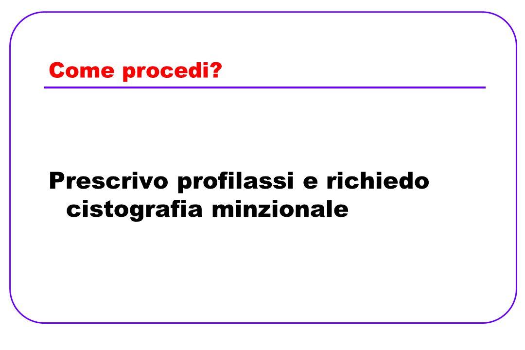 Come procedi? Prescrivo profilassi e richiedo cistografia minzionale