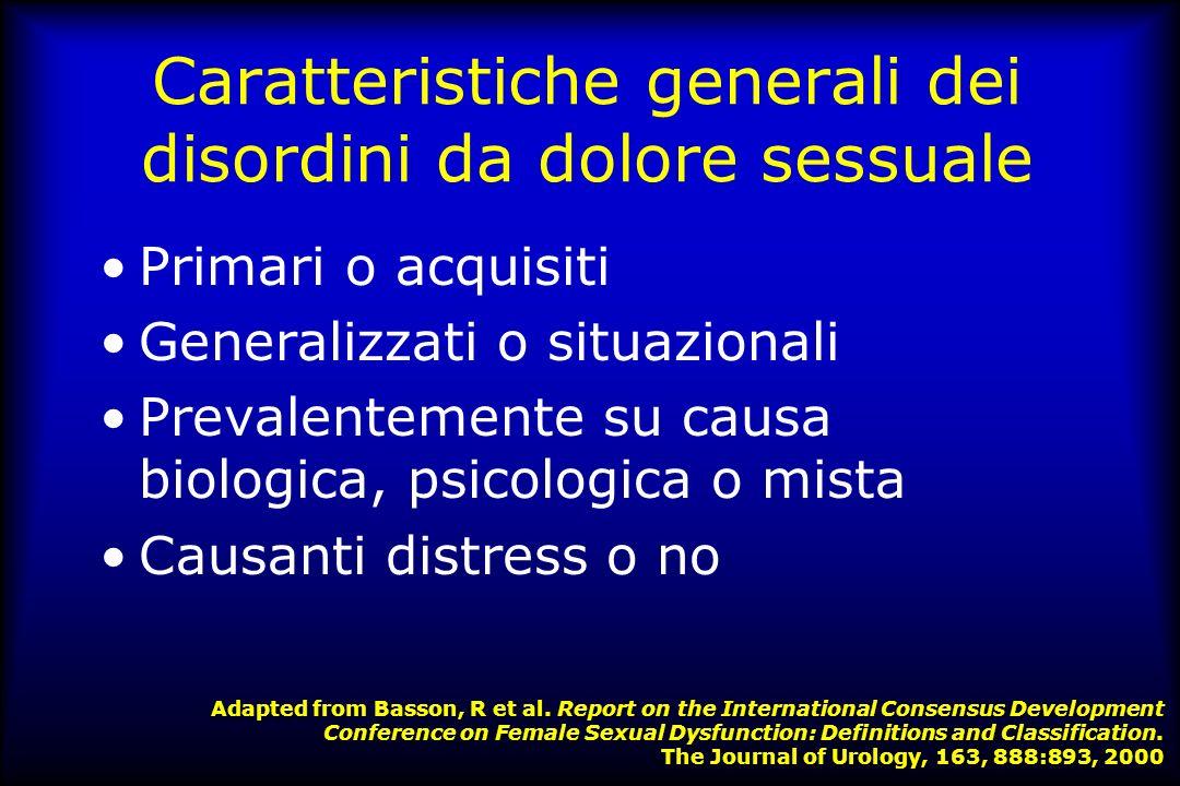 Caratteristiche generali dei disturbi genito-urinari & sessuali caratterizzati da dolore